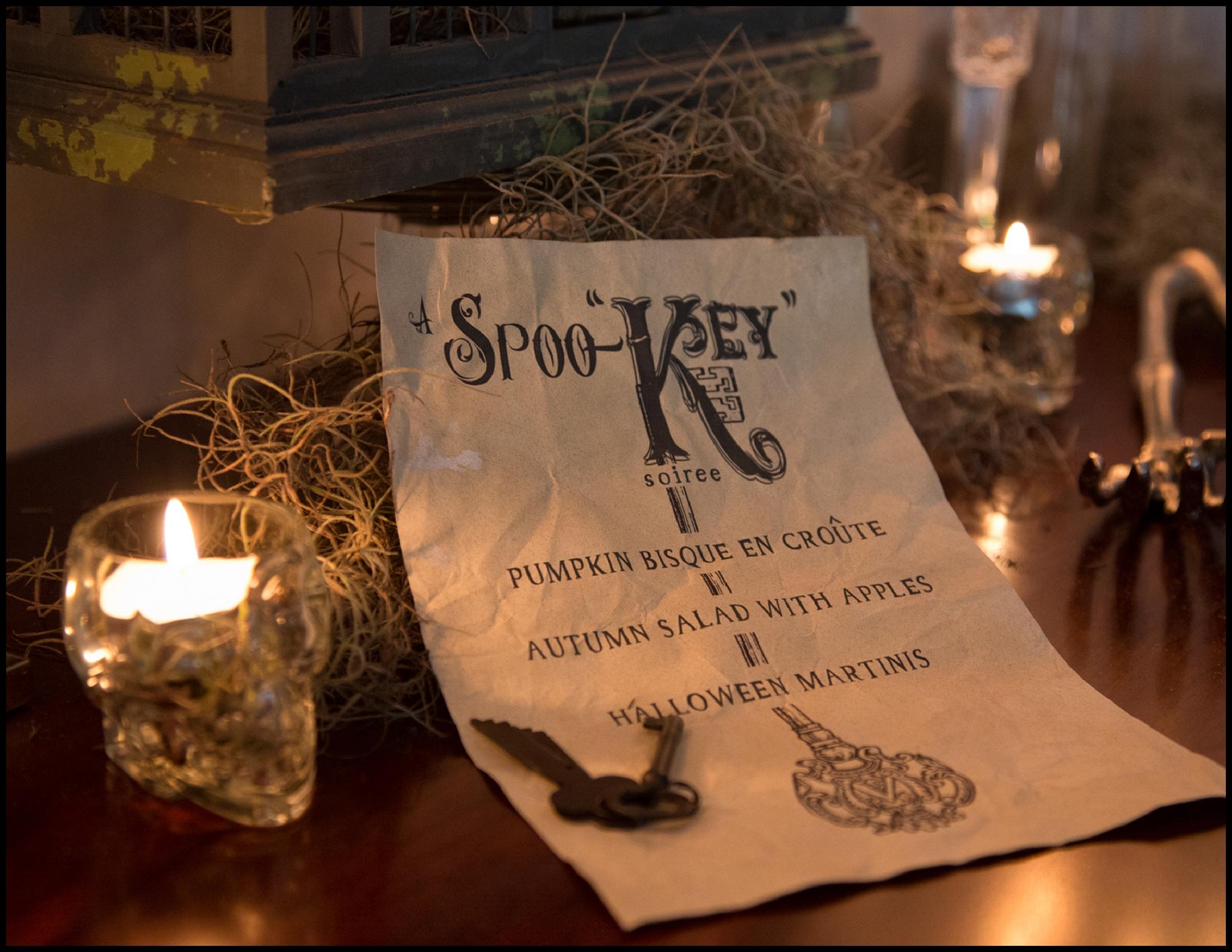 """A Spoo-Key Soiree"" menu by Picklejuice Productions!"