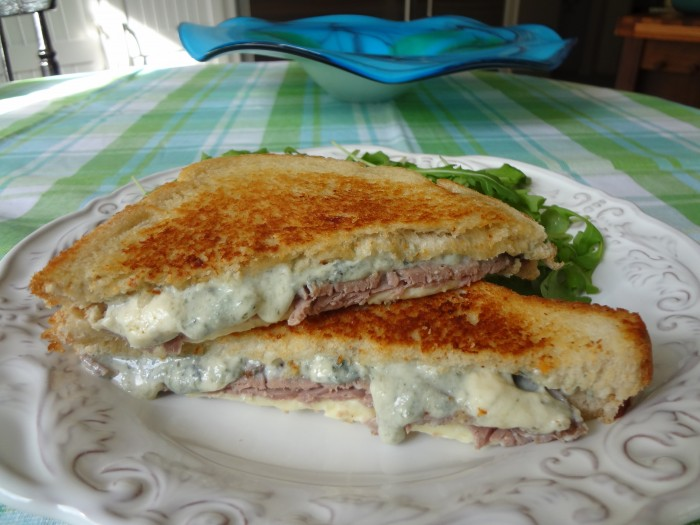 Grilled Roast Beef, Gruyere and Bleu Cheese Sandwich
