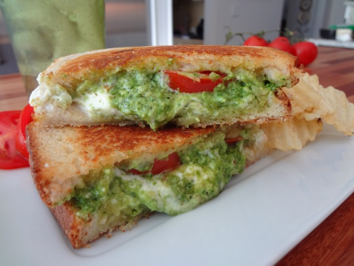 Grilled Goat Cheese, Pesto and Tomato Sandwich