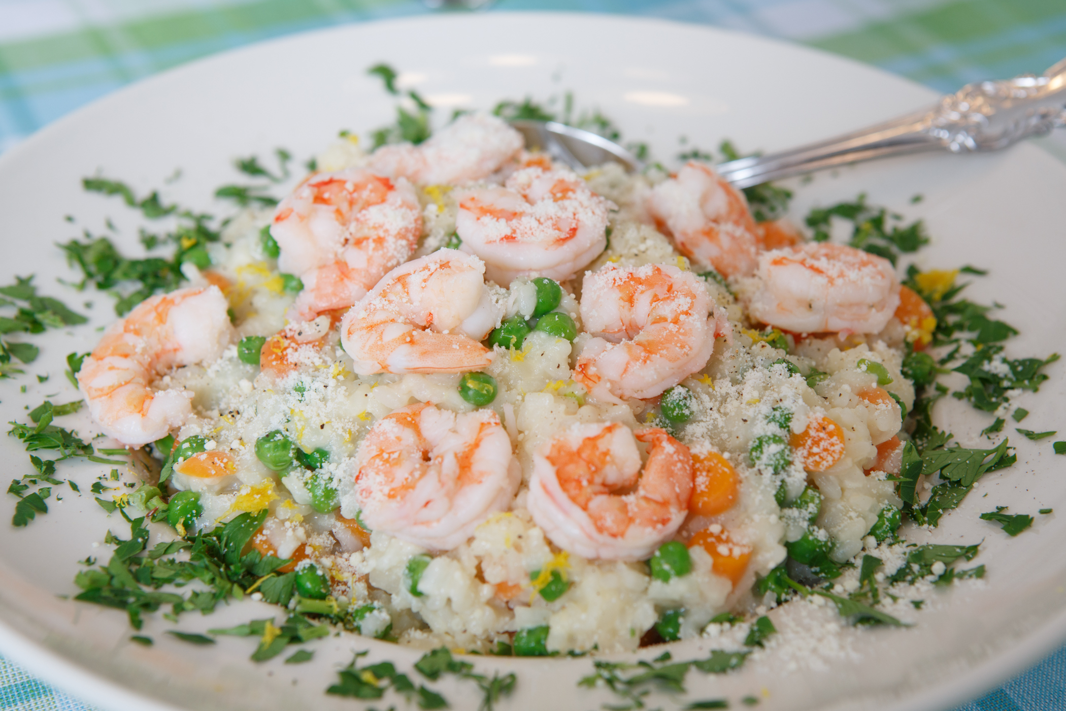 Peas and Carrots Risotto with Shrimp