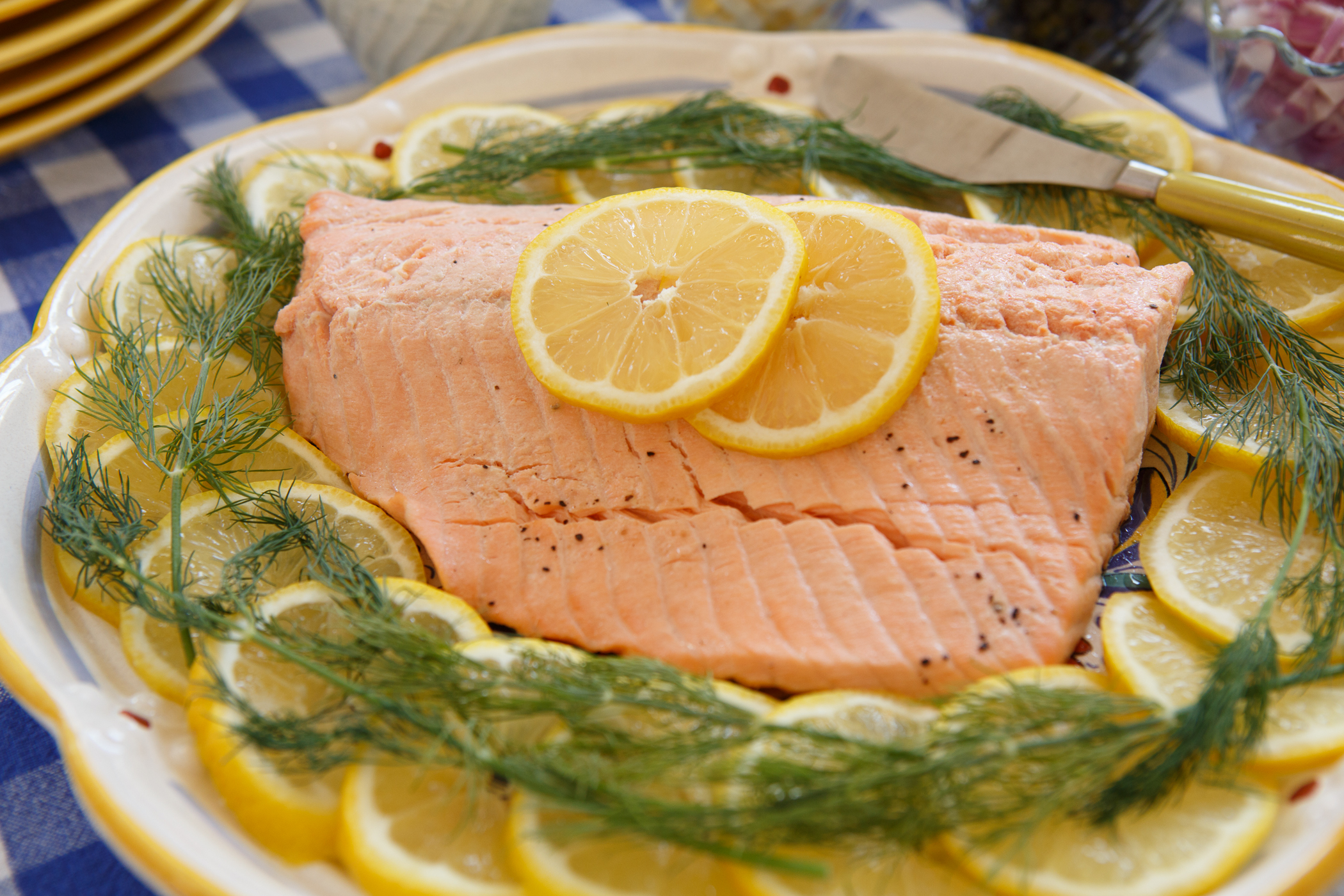 Cold Poached Salmon with Dill Sauce