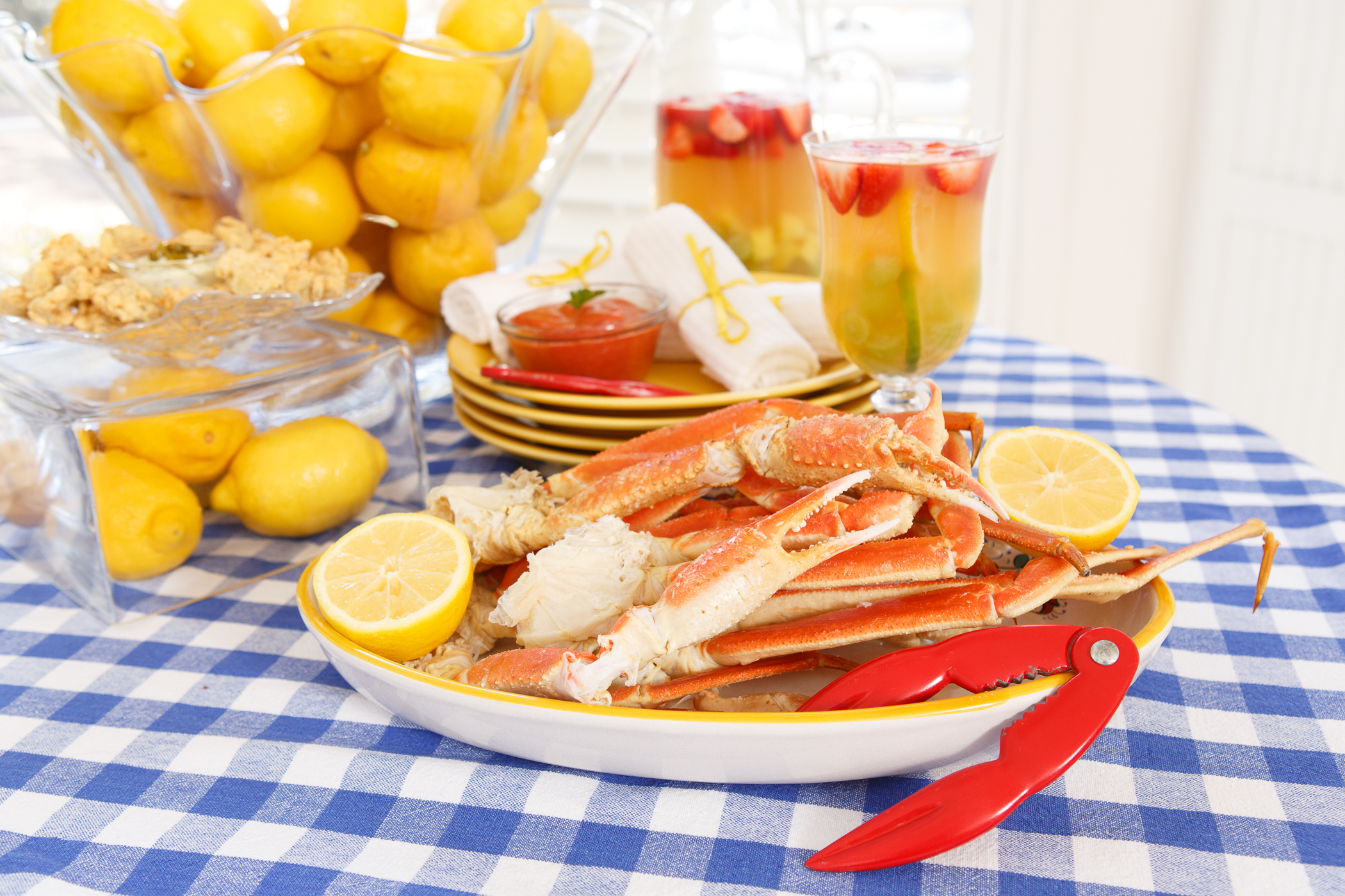 Steamed Snow Crab Legs with Lowcountry Cocktail Sauce