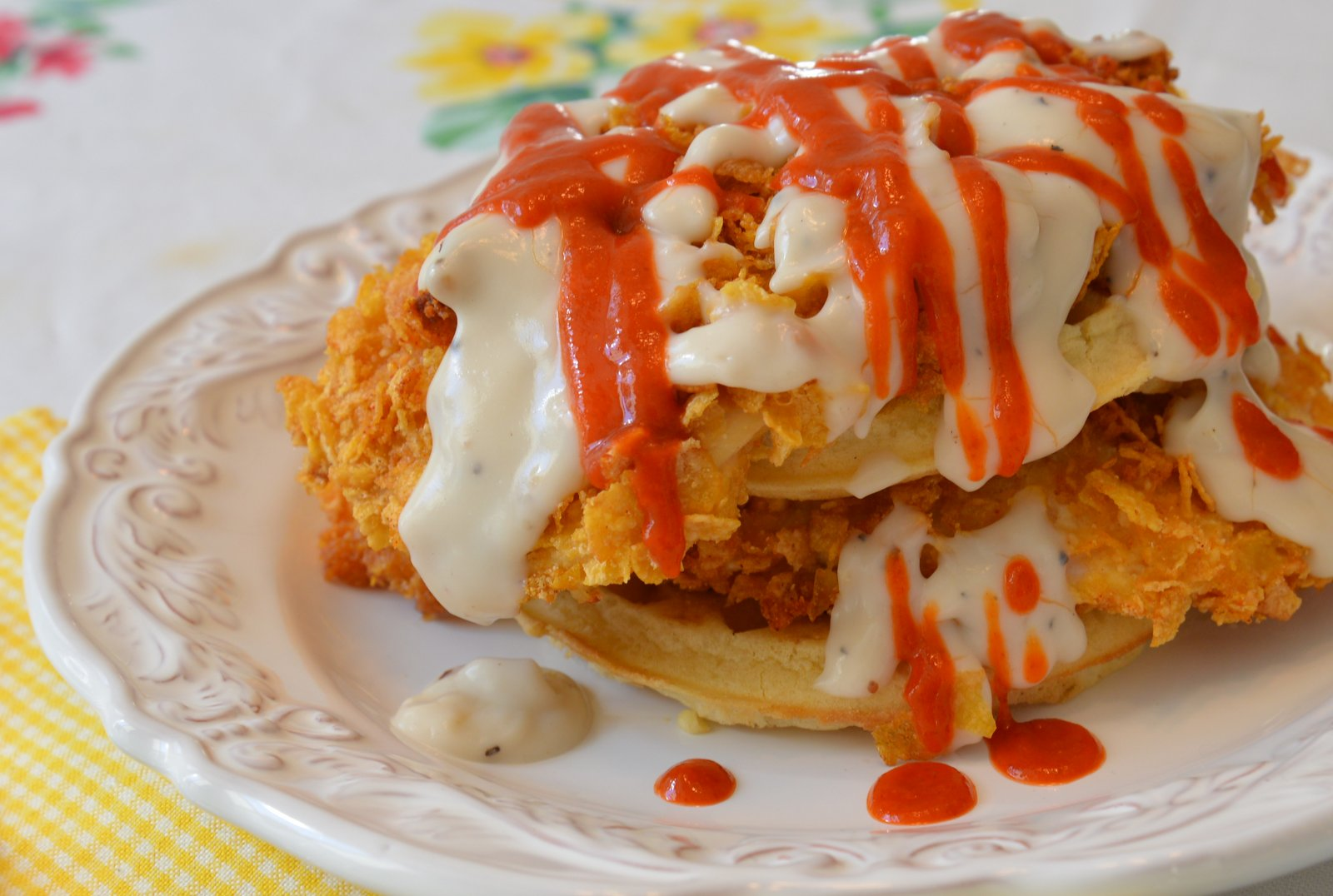 Buttermilk Chicken and Waffles with Maple Gravy