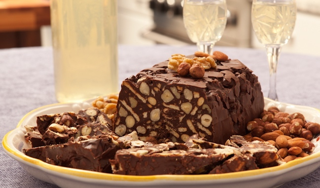 Chocolate, Nut and Butter Cookie Loaf (Mattonella con biscotti sablee)