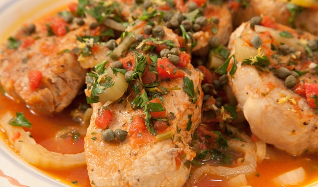 Pork Chops with Fennel and Caper Sauce